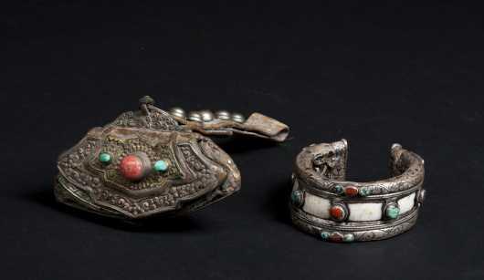 A Tibetan Bracelet with Tinder Pouch