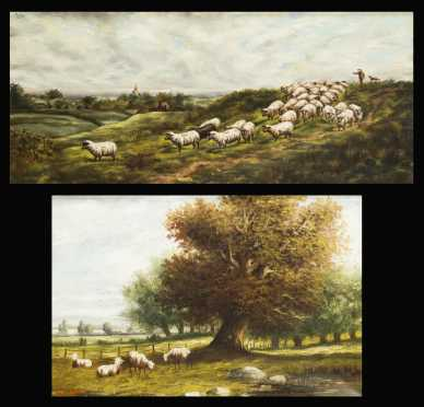 Andrew Millrose Pair of Landscapes with sheep