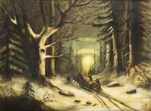 Nocturnal Woodland Winter Landscape