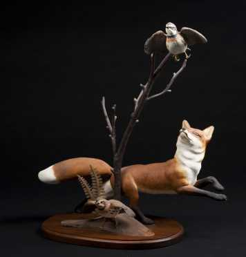 Robert & Virginia Warfield, signed  wood carving of a red fox