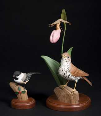 """Robert & Virginia Warfield, signed """"Wood Thrush Carving"""" and a """"Black Capped Chickadee"""""""