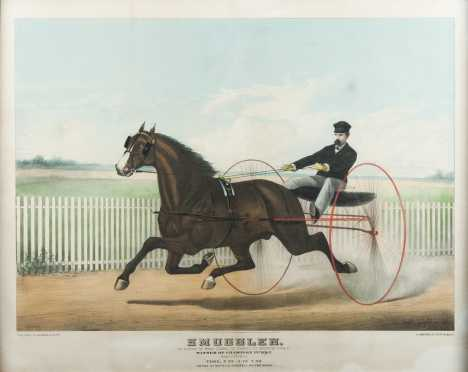 """Haskell And Allen"""" colored print of """"Smuggler,"""" harness racer"""