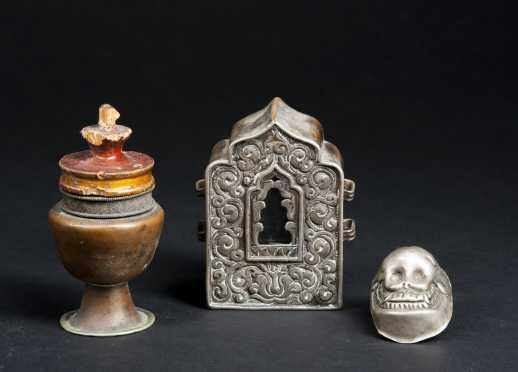 Three Himalayan Items including a silver Gau box