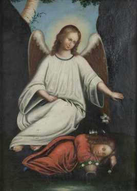 Old Master Style Painting of Guardian Angel and Child