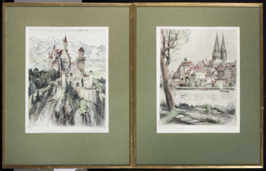 Paul Geissler lot of 2 hand tinted etchings