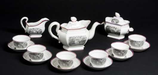 Pink Luster Transfer Decorated Tea Set