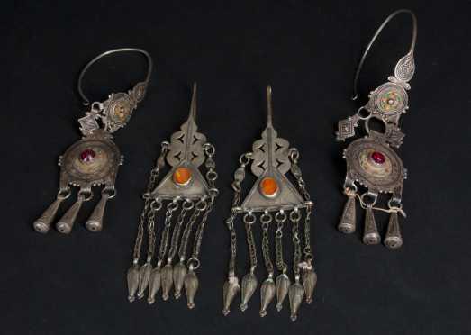 Two Pair of Turcoman Silver Earrings