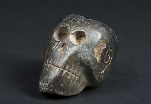 Black Steatite Skull Form Pipe Bowl