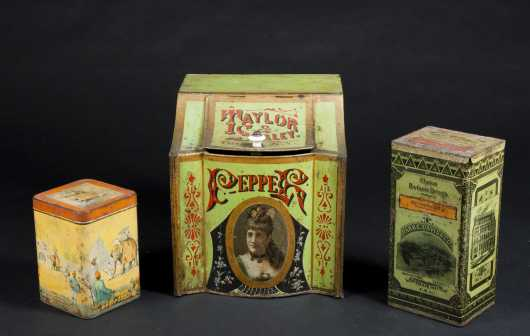 Three Antique Tin Containers