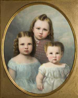 Anson Daniels, oil on canvas portrait of a three children,