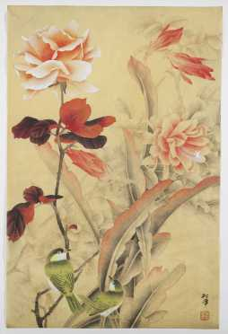 Chinese Watercolor of Pink Roses