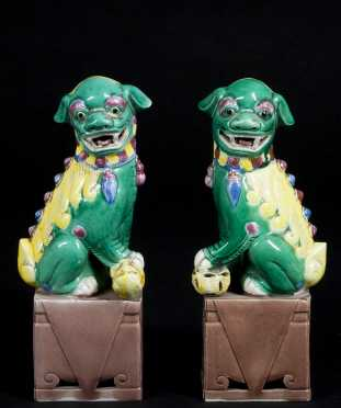 Pair of Chinese Porcelain Foo Dogs