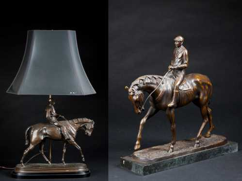 Lot of two horse bronzes with jockeys,  After Pierre Jules Mene