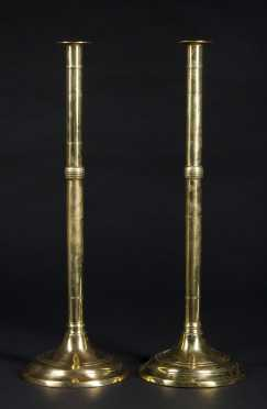 Pair of Tall English Candlesticks