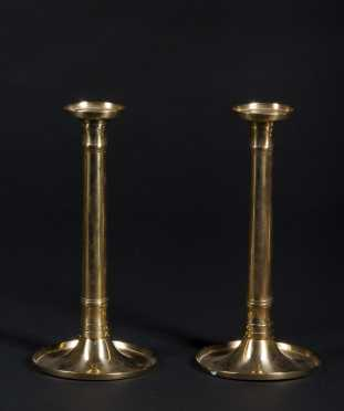 Pair of Brass Saucer Based Candlesticks