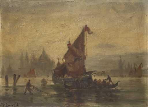 Walter Franklin Lansil Painting of a Harbor Scene