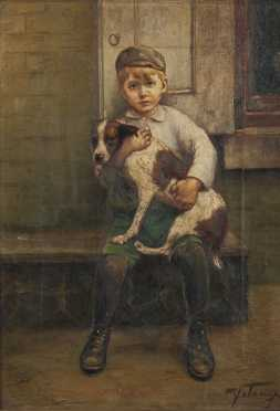 Michele Falanga  painting of a young boy with his dog