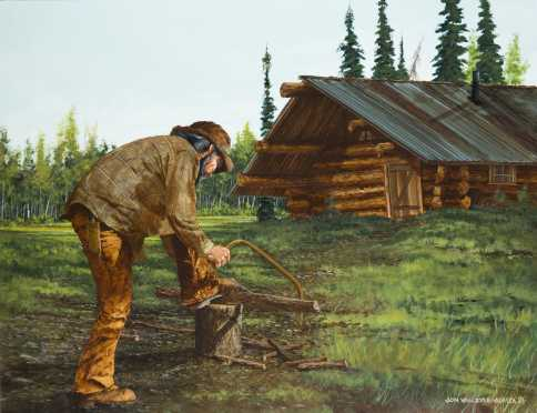 John Van Zyle, of a figure sawing kindling for his supper
