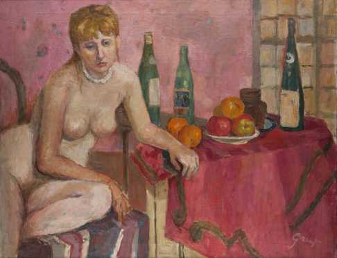 Dorothy Mengis Grant painting of a nude woman at a table