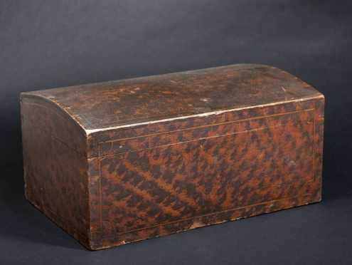 New York/Vermont Paint Decorated Domed Top Box