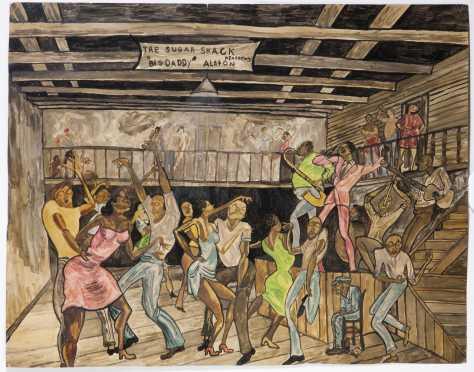 Attributed Ernie Barnes, watercolor of The Sugar Shack