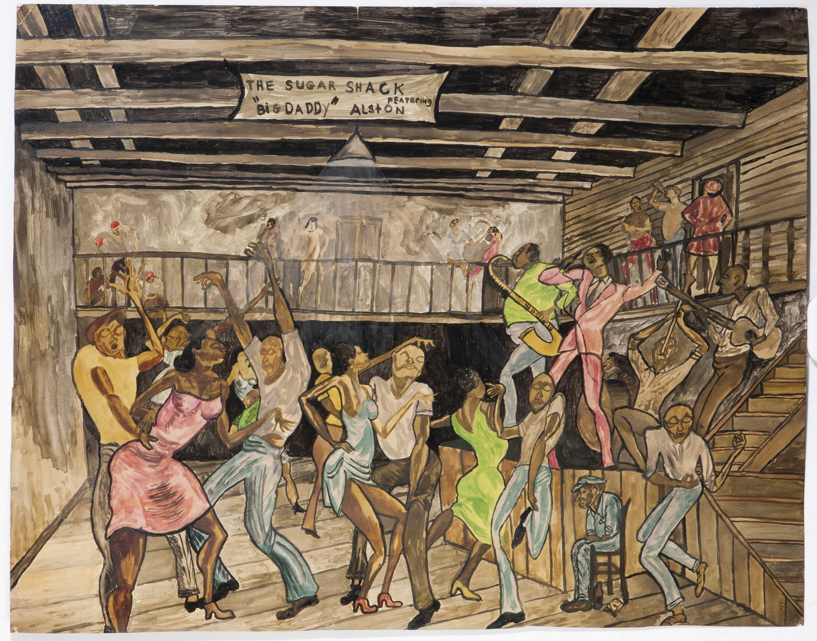 Attributed Ernie Barnes Watercolor Of The Sugar Shack