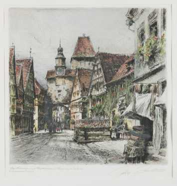 Paul Geisler hand colored etching