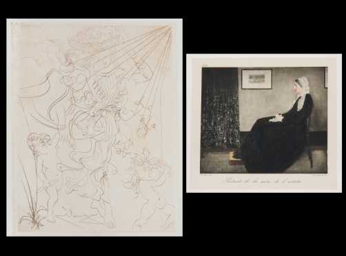 """Salvador Dali', etching, """"Autumn"""" and """"Whistler's Mother"""" lithograph"""