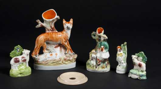 Five Pieces of Staffordshire Pottery