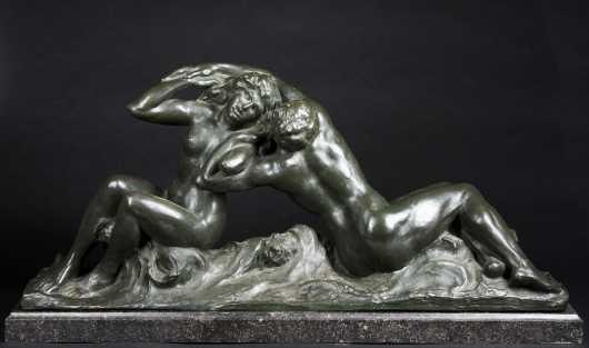 """Victor de Haen Bronze of, """"Lovers"""""""