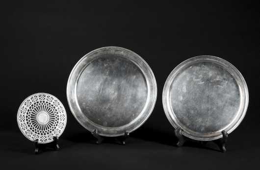 Two Tiffany & Co. marked plates and Tiffany Coaster.