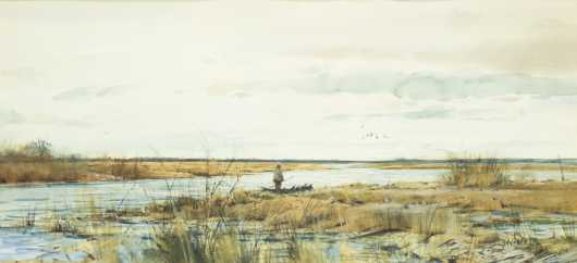 Milton C. Weiler, watercolor of a man by a marsh with ducks flying