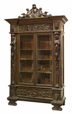 Carved Walnut Glass Fronted China Cabinet