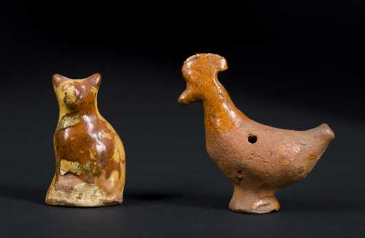 Redware Glazed Cat and Rooster