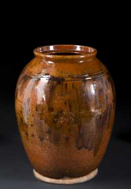 Ovoid Redware Jar with Incised Shoulder