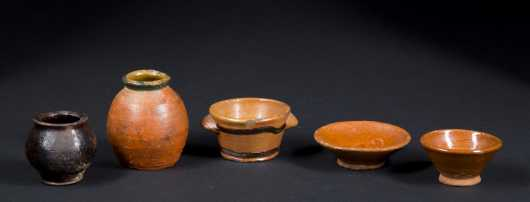Collection of Five Miniature Redware Dishes