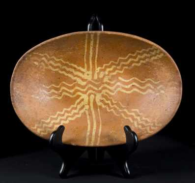 Slip Decorated Oval Redware Dish