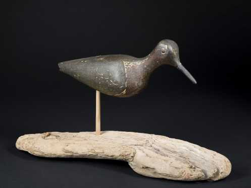 Primitive Painted Shorebird Decoy