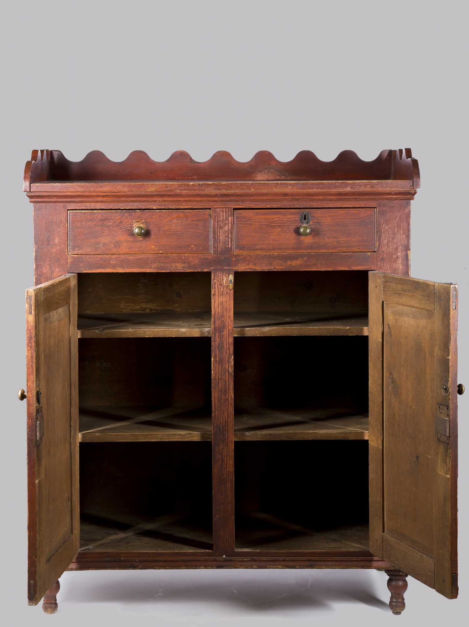 Red Scalloped Gallery Cabinet