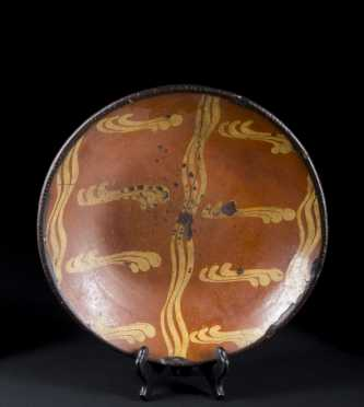 Circular Slip Decorated Redware Dish