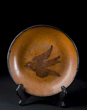 Bird Slip decorated Redware Dish