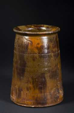 Splotch Decorated Canted Redware Jar