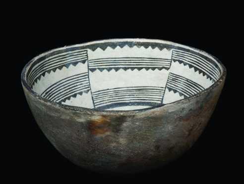 A fine Mimbres geometric bowl, 1100 AD.