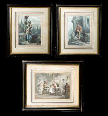 Dupendant (Artist) 1835-1900?, Europe:  three watercolors and gauche on paper