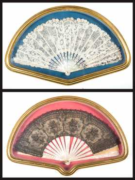 Two Mother of Pearl and Lace Fans