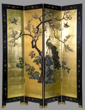 Chinese 20th C. Four Part Screen