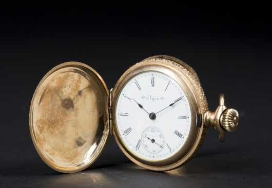 Elgin Ladies Pocket Watch and 14kt Chain