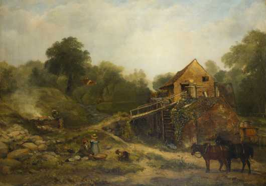 "Frederick Waters Watts, R.A., 1800-1862, UK,  painting of a ""Cider Mill In Devon"""