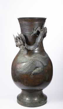 Edo Palace Size Japanese Bronze Vase With Dragon Decoration