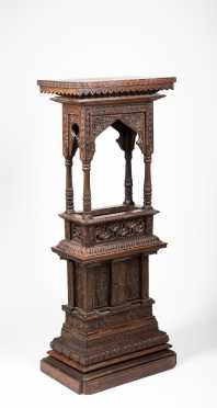 Moorish Carved Hardwood Pedestal